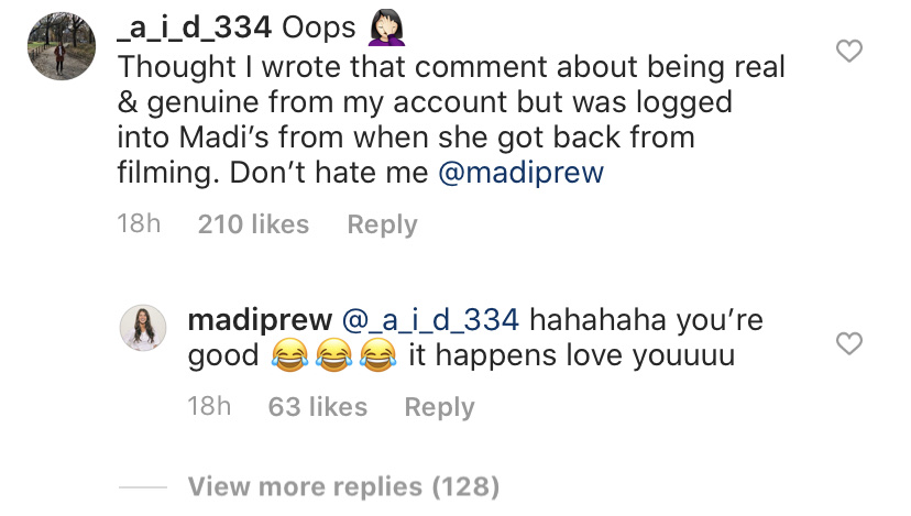 Madison Prewett IG Comment