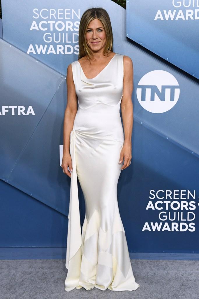 Jennifer Aniston 2020 SAG Awards Red Carpet White Silk Dress