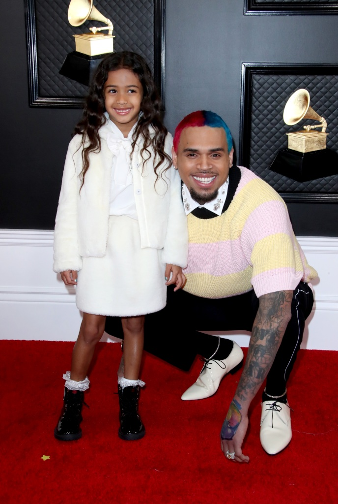 Chris Brown and Daughter Royalty at the Grammys