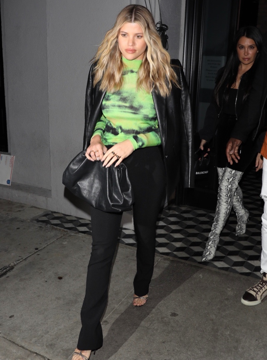 Sofia Richie Rocks Neon Top and Leather Jacket While Out for Dinner at Craig's and We're Obsessed