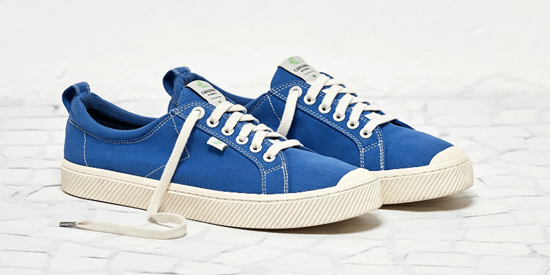 washed blue canvas sneakers