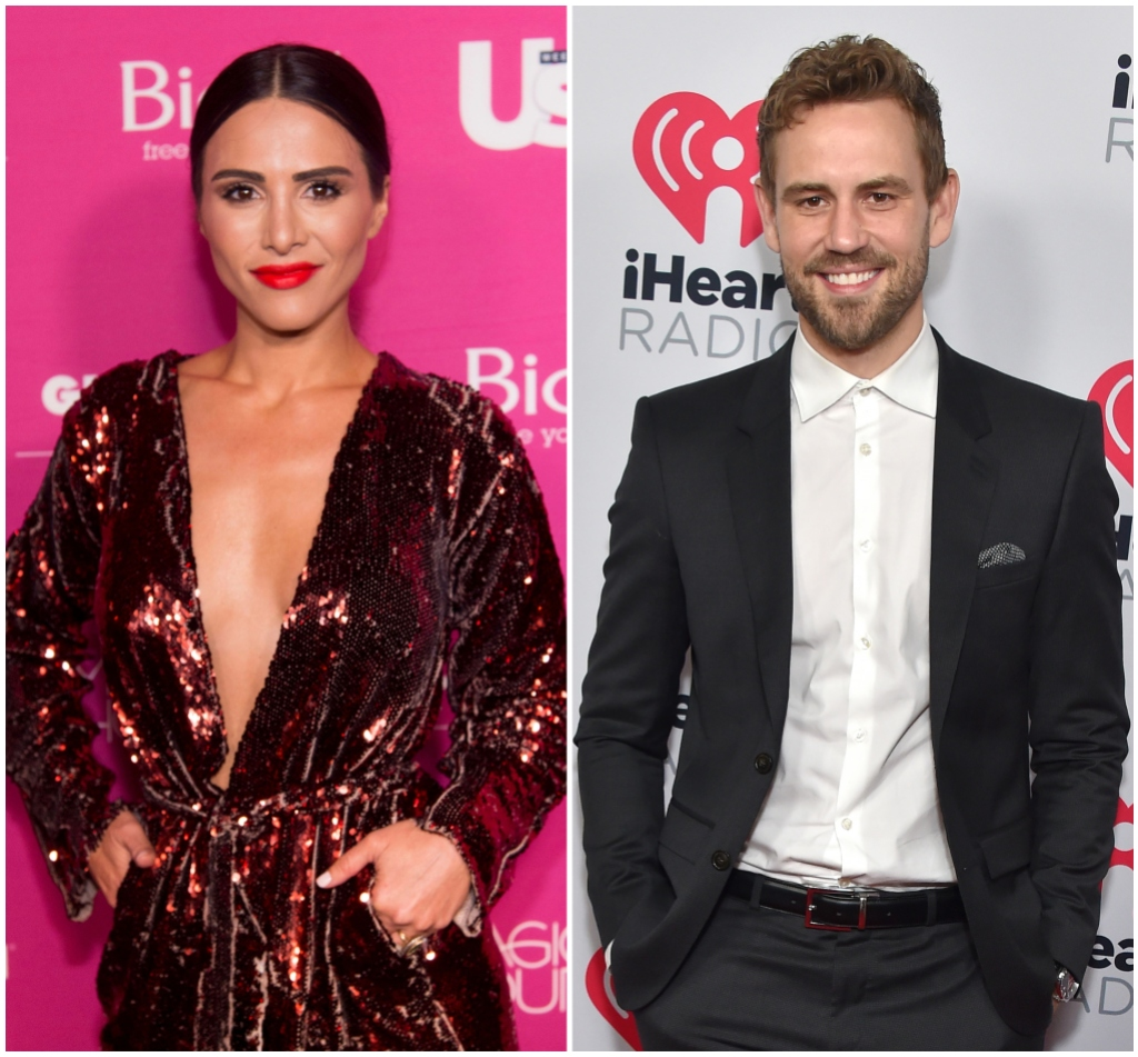 Anid Dorfman Smiles With Red Lipstick and Sequined Dress With Plunging Neckline in Split Image With Nick Viall Wearing Black Suit and White Button Down Shirt