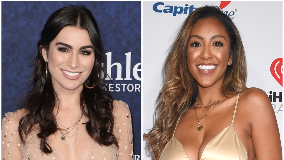 Bachelor Star Ashley Iaconetti Wears Nude Sparkly Dress With Hair Half Up in Split Image With Bachelor in paradise Star Tayshia Adams in Gold Two Piece Dress