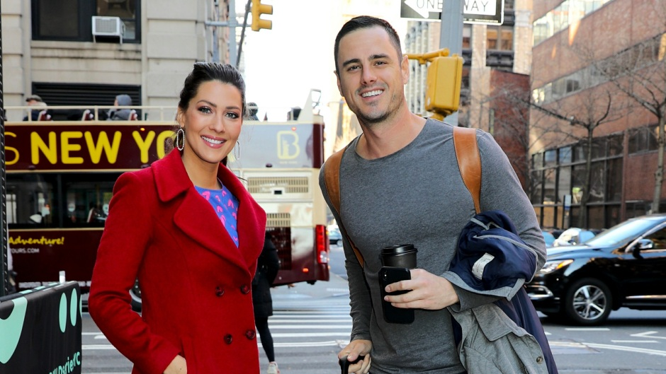 Ben Higgins Wearing a Gray Shirt With Becca Kufrin in a Red Coat