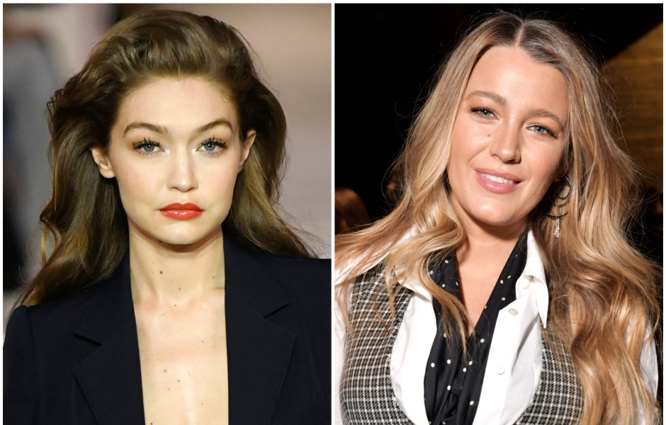 Gigi Hadid on the Runway for Lanvin fashion house During Paris Fashion Week With Big Hair and Red Lipstick Split Image With Blake Lively Wearing Checkered Vest and White Blouse at Michael Kors Show During NYFW