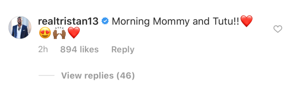 Tristan Comments on Photo of Khloe Kardashian and True Thompson