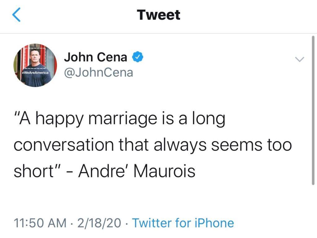 John Cena's Tweet