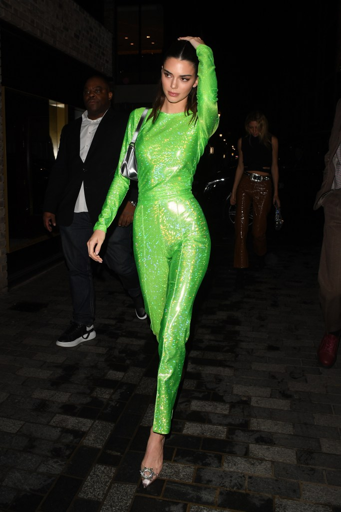 Kendall Jenner Wears a Sparkly, Lime Green Set from Saks Potts