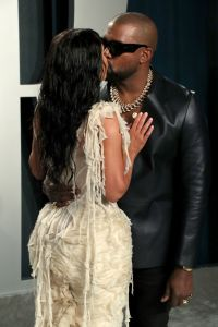 Kim Kardashian and Kanye West at the 2020 Vanity Fair Oscars Afterparty