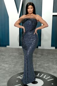 Kylie Jenner attends the Vanity Fair Oscars afterparty in a blue Ralph & Russo dress
