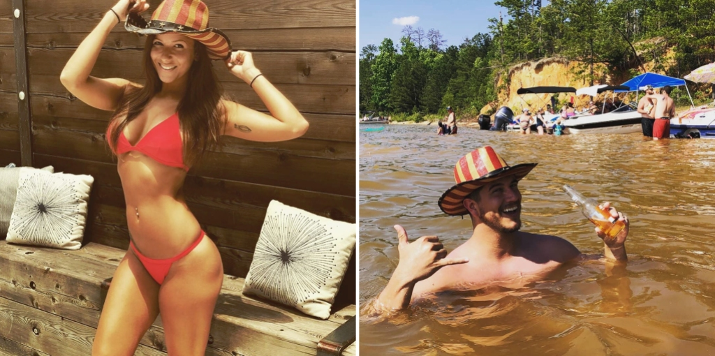 Side-by-Side Photos of Amber Pike and Matt Barnett Celebrating 4th of July