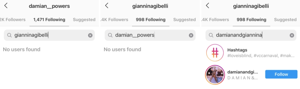 Love Is Blind Stars Giannina and Damian Don't Follow Each Other on Instagram