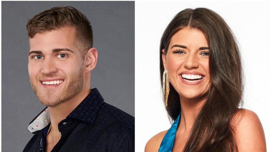 Luke Parker Bachelorette Headshot in Blue Button Down Shirt Split Image With Madison Prewett Bachelor Headshot in Blue Silk Top