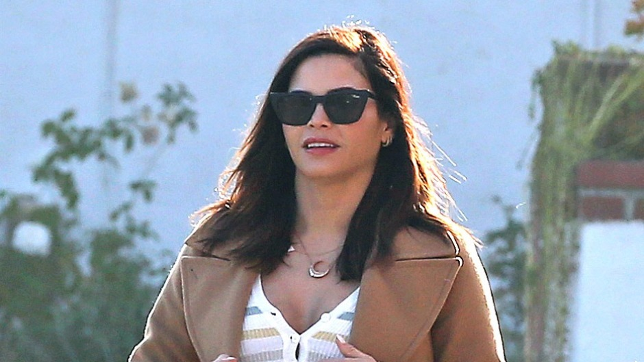 Pregnant Jenna Dewan Wears Striped Dress and Tan Coat and Sunglasses With New Diamond Engagement Ring From Steve Kazee