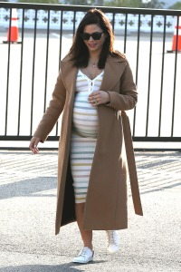 Newly Engaged Jenna Dewan Wears Sunglasses and Striped Dress With Tan Trench Coat With Baby Belly Sticking Out and Engagement Ring From Steve Kazee