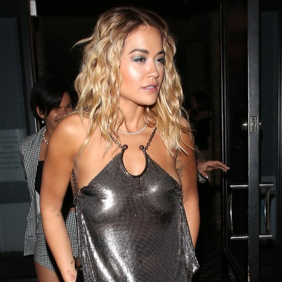 Rita Ora Wears Sheer Top to Dinner at Craigs in LA With Long Leather Skirt and Knee High Boots
