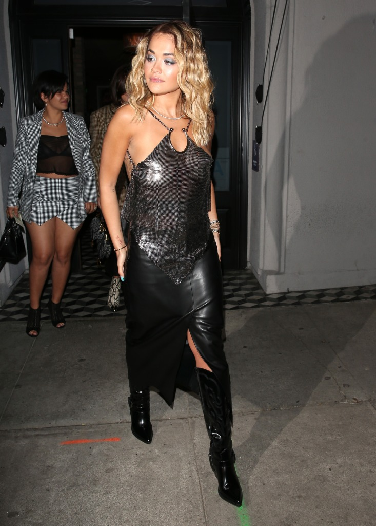 Rita Ora Wears Sheer Top to Dinner at Craigs in LA With a Long Black Leather Skirt and Knee High Boots