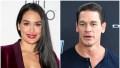 Nikki Bella in a Maroon Velvet Suit Jacket and Tan Bra and Red Lip Split Image With John Cena in Blue Henley Top