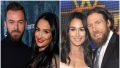 Nikki Bella Wears Black Outfit and Red Lipstick Standing Next to Finace Artem in Black Turtleneck in Split Image With Brie Bella Wearing White Dress Standing With Husband Daniel Bryan in Suit