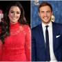 Tia Booth Smiles in Full Glam and Red Dress in Split Image With Peter Weber in Blue Suit Bachelor
