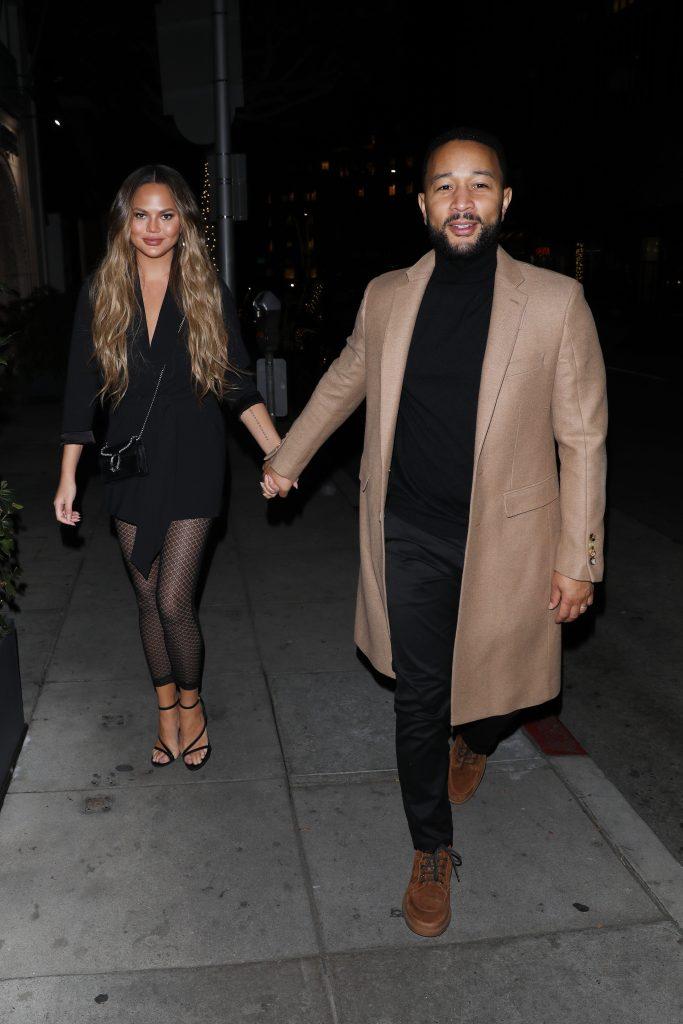 Chrissy Teigen John Legend Hold Hands After Dinner in Beverly Hills