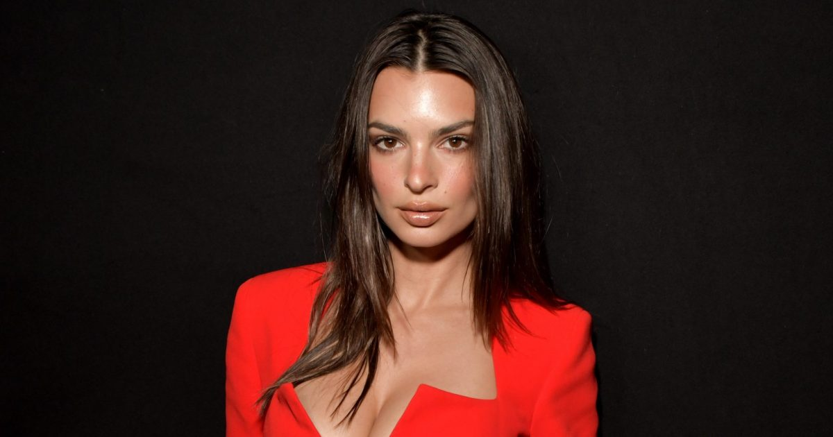 Emily Ratajkowski Stuns in Cleavage-Baring Red Suit-Dress at Versace