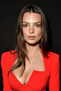 Emily Ratajkowski Shows Off Cleavage in Red Mini Suit-Dress at Versace Milan Fashion Week Show