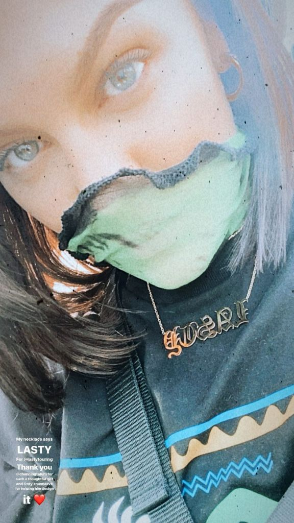 Jessie J Wears Green Facemask With Gold Lasty Necklace Designed by Channing Tatum