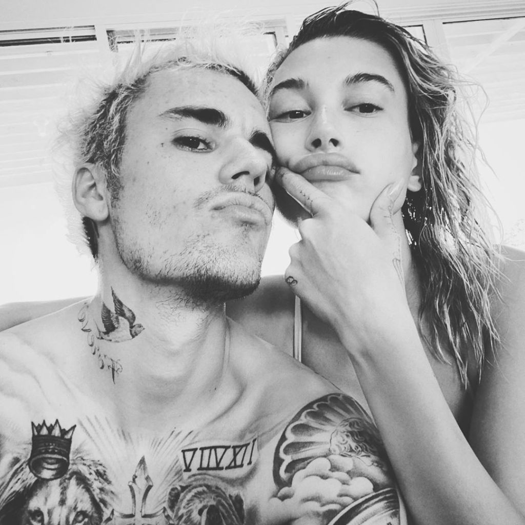 Justin Beiber and Hailey Baldwin Have Pensive Faces After Swimming Black and White Instagram Photo
