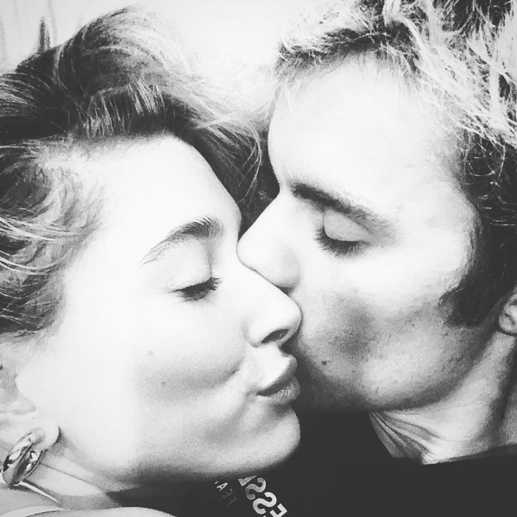 Justin Bieber Kisses Wife Hailey Baldwin in Close Up Black and White Selfie