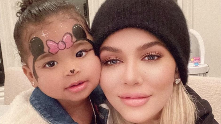 Khloe Kardashian Wears Black Beanie and Smiles With Daughter True Thompson With Minnie Mouse Face Paint