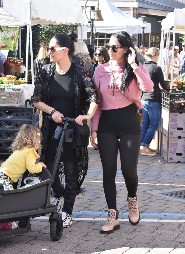 Pregnant Nikki Bella and Brie Bella at Farmer's Market