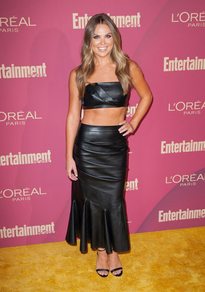 Hannah Brown Smiles in Leather Two Piece Dress