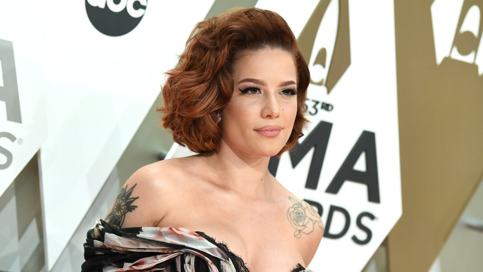 Halsey Smiles in Off the Shoulder Gown and Short Red Hair