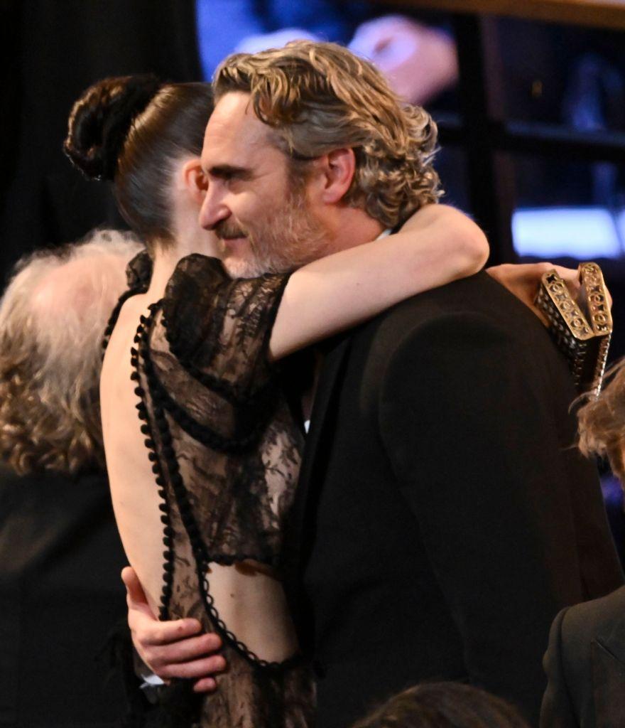 Joaquin Phoenix Hugs Fiance Rooney Mara