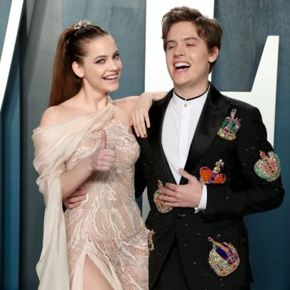 Barbara Palvin and Dylan Sprouse Held Her Dress so She Could Walk Vanity Fair Oscar Party, Arrivals, Los Angeles, USA - 09 Feb 2020