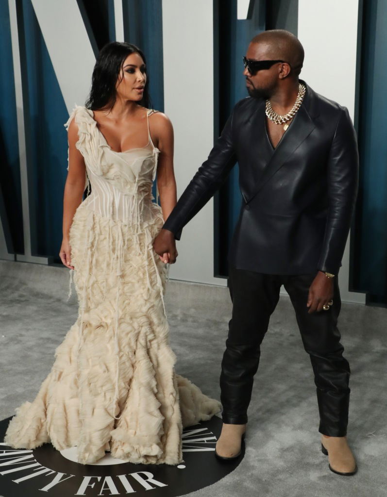 Kim and Kanye Full Body Photo Vanity Fair Oscar Party, Arrivals, Los Angeles, USA - 09 Feb 2020