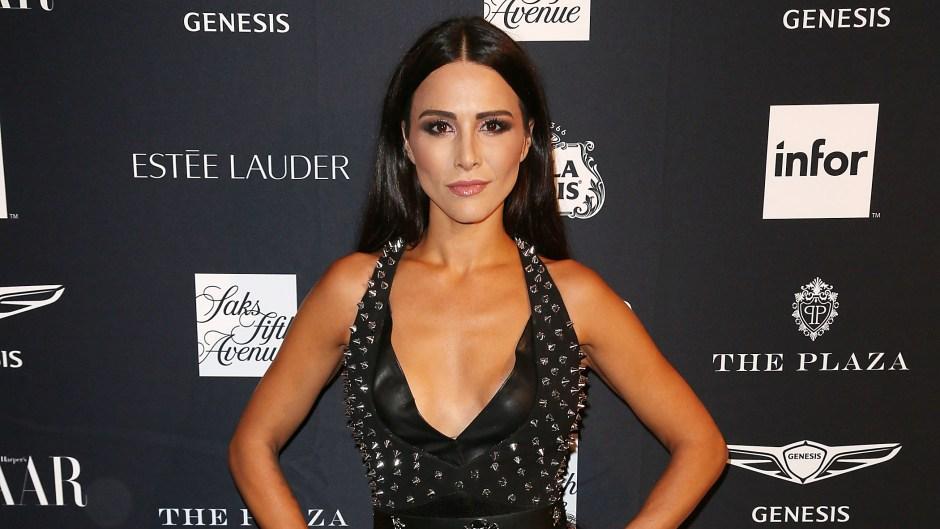 Bachelorette Star Andi Dorfman Wears Black Gown with Plunging Neckline