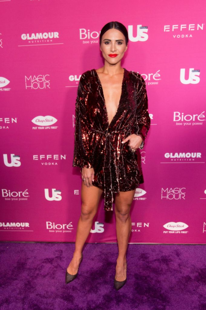 Andi Dorfman Wears Glittery Dress and Tight Bun