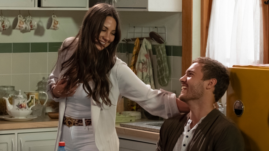 Bachelor Contestant Kelley Laughs With Peter Weber