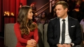 Bachelor Contestant Hannah Ann Sluss Wears Red Dress and Stares at Ex Peter Weber in Black Suit During After the Final Rose