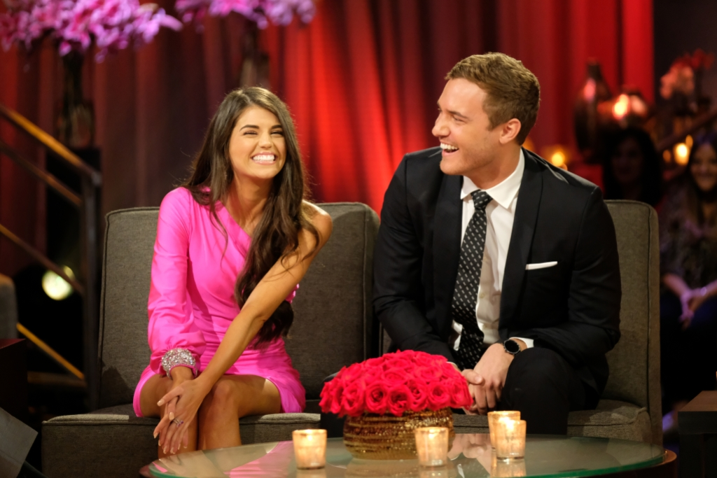 Bachelor Peter Weber Wears Black Suit and Laughs With Madison Prewett in One Sleeved Pink Dress During After the Final Rose