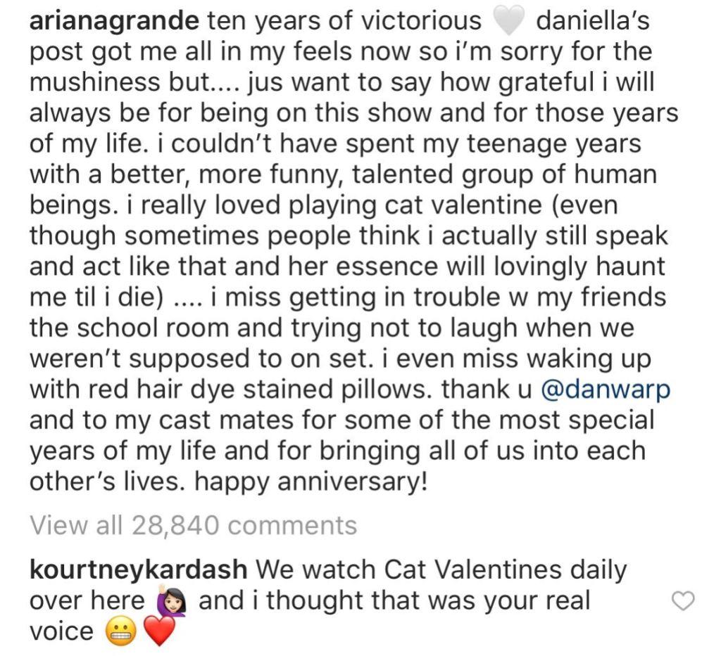 Ariana Grande and Kourtney Kardashian Instagram Exchange