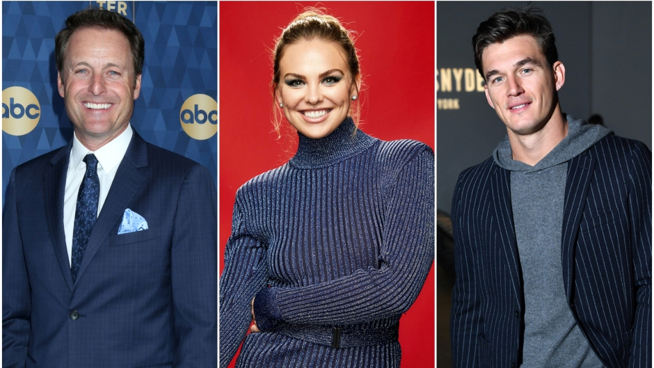 Bachelor Host Chris Harrison Smiles in Blue Suit in Split Image With Hannah Brown Wearing Blue Sparkly Turtleneck Dress and Tyler Cameron in a Grey Hoodie and Blue Suit