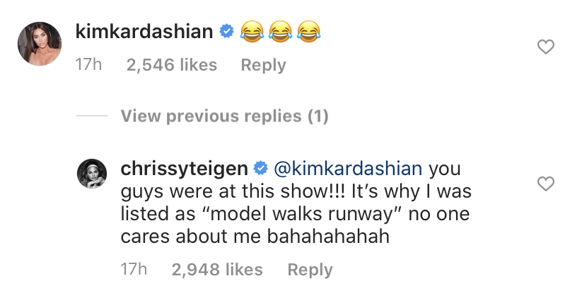Chrissy Teigen and Kim Kardashian IG Exchange