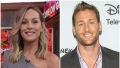 Bachelorette Clare Crawley Smiles in Silver One Shoulder Dress in Split Image With Juan Pablo Galavis in Grey Suit with Purple Button Down