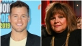 Bachelor Colton Underwood Smiles in a Yellow Tshirt and Blue Blazer in Split Image With Peter Webers Mom Barbara in Black Turtleneck and Gold Necklaces