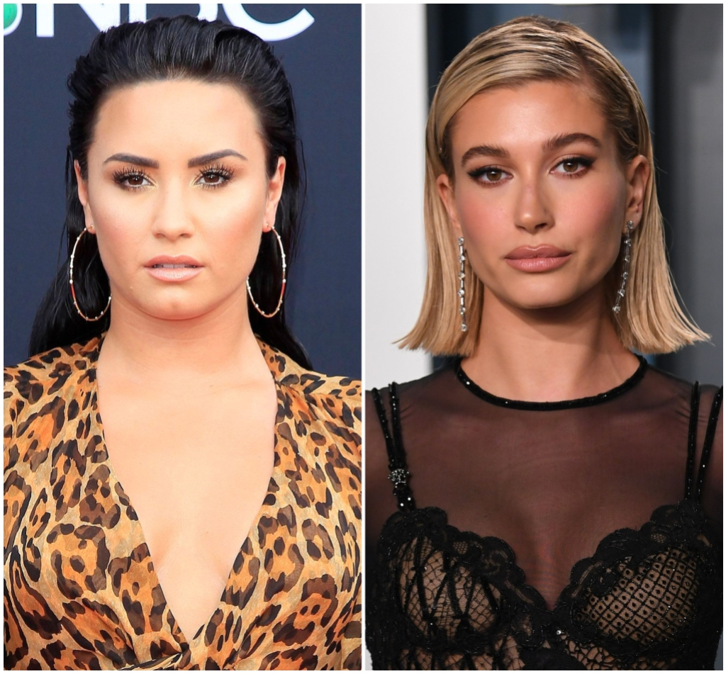Demi Lovato With Gold Hoop Earrings with Slicked Back Hair and Cheetah Dress in Split Image Hailey Baldwin With Blonde Bob Haircut and Black Sheer Dress
