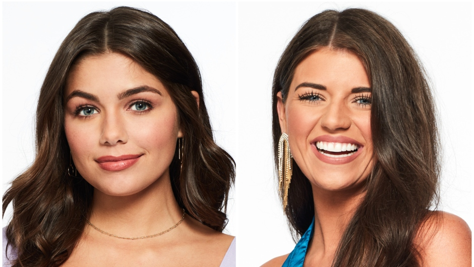 Bachelor Contestants Hannah Ann Sluss Headshot Purple Shirt With Buttons Split Image With Madison in Blue Silk Top and Gold Dangly Earrings