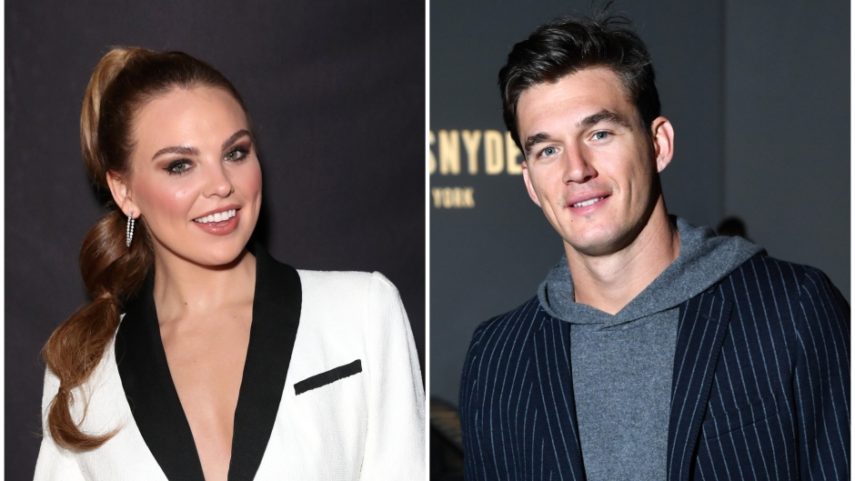 Hannah Brown Wears High Ponytail and White Suit in Split Image With Tyler Cameron in Hoodie and Pinstripe Suit